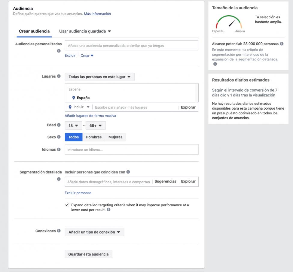 Creación de audiencia en Facebook Sngular 2019